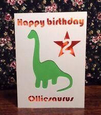 Personalised Birthday Card Dinosaur Handmade Cut Out Any Age 1 2 3 4 5+ Boy Girl