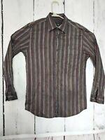 Jhane Barnes Mens Medium Silk Blend Long Sleeve Button Front Shirt  Metallic