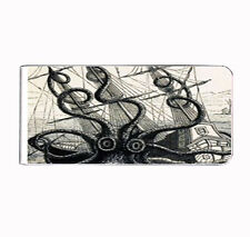 Metal Money Clip Kraken Silver Card Holder Vintage Octopus B&W Creature Attack