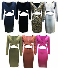 Women V Neck Sleeveless Bandage Party Clubbing Slinky Dress Bodycon Open Cut