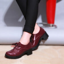 Womens Lace Up Patent Leather Oxford Shoes Round Toe Casual Chunky Heel Creepers
