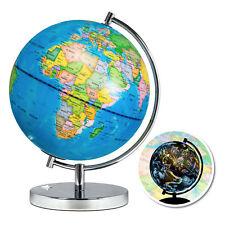 2-in-1 Kids World Map & Constellation Globe Light Up Night Day View Stand Stars
