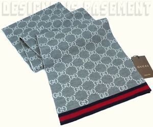 GUCCI gray & white SOLANGE Original GG red & blue WEB wool scarf NWT Authentic!
