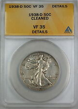 1938-D Walking Liberty Silver Half Dollar, ANACS VF-35 Details, Cleaned Coin