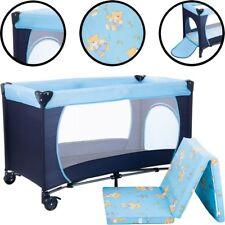 Reisebett (Mit Matratze - 100% BAUMWOLLE) Kinder Baby Bett Klappbett Laufstall