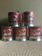 Vintage Russian Soviet podstakannik Fabulous animals tea glass holder Aluminum