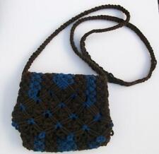 Handmade Macrame handbag, Blue & Brown Macrame shoulder bag by MariasCrafts
