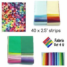 "Jelly Roll, 40 x 2.5"" WOF Precut Fabric Strips, 40 Colours, Cotton, Die Cut"