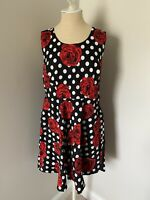NWOT ModCloth Liza Luxe Fit & Flare Black Polka Dot Rose Pleated Tank Dress - 1X