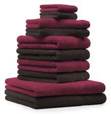 Betz Juego de 10 toallas PREMIUM 100% algodón en rojo oscuro y marrón oscuro