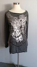 Womens RXB Gray & Silver Long Sleeve Shirt Top Size L