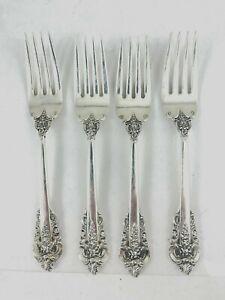 """4 Wallace Grande Baroque Sterling Silver SALAD FORK 6 1/2"""" No Monograms Vintage"""