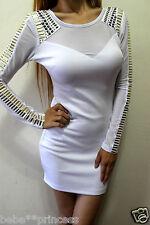 NWT bebe white stud cutout back mesh long sleeve party sexy top dress XS 0 2