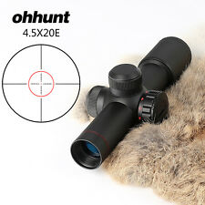 Ohhunt 4.5x20E Compact Red Illuminated Glass Etched Reticle Scope and Rings