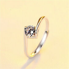 Fashion Silver heart Cubic Zirconia Enternal Love Wedding Jewelry Ring Size 8