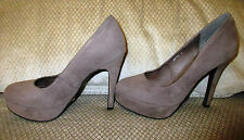 STILETTOS by HER MAJESTY - SIZE 8 - TAUP COLOUR in FAUX SUEDE