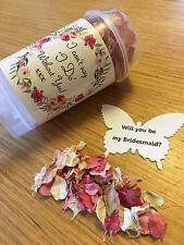 Will you be my bridesmaid Confetti Push Pop Delphinium Rose Petals Wedding