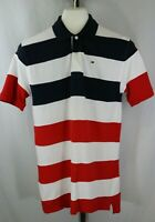 Tommy Hilfiger Boys Youth Red White Blue Striped Short Sleeve Polo Shirt Size L