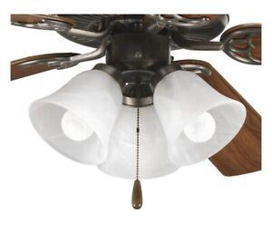Progress Lighting (Fan Light Kit) 3-Light Antique Bronze - Free US Shipping