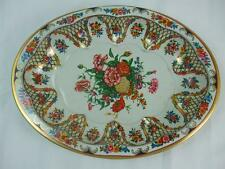 """Vintage Oval Tin Bowl Daher Decorated Ware Red Flowers Made in England 11.5"""""""