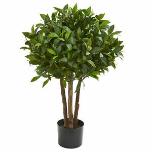 """Nearly Natural 37"""" Bay Leaf Topiary Artificial Tree Realistic Home Decoration"""
