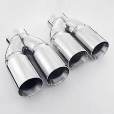 Dual Wall Twin 3 inch Outlet 3 inlet Straight Cut Stainless Steel Exhaust Tips