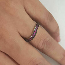 Silver Promise Proposal Fine Gift Jewelry Ruby Gemstone 14K Gold Band Ring 925