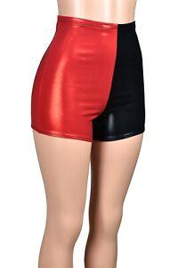 High-Waisted Metallic Red Black Shorts XS S M L XL 2XL 3XL Harley Quinn cosplay