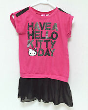 Hello Kitty Girls Juniors Shirt Large 10-12 Pink Black Tulle Trim Short Sleeve