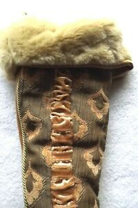 Victorian Renaissance Womens Green Gold  Boot Faux Fur Trim Christmas Stocking