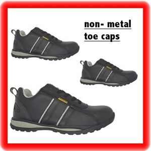 NEW MENS LADIES plastic toe NON METAL TOE CAP SAFETY LEATHER TRAINERS SHOES BOOT