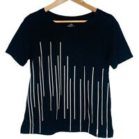Uniqlo SPRZ NY Morellet Womens Top T-Shirt Size Small Black Striped