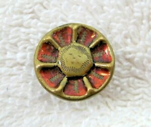"""OlderGold Tone Metal Button Flower Face w Red Wash 5/8"""" NICE! B157"""