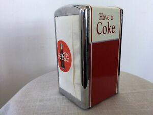 Vintage COCA COLA Retro Metal Napkin Holder HAVE A COKE + Napkins/Serviettes VGC