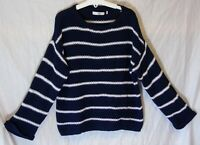 Girls M&S Navy Blue White Stripe Textured Knit Slouch Jumper Age 11-12 Years
