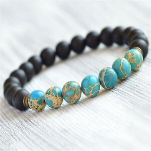 8mm Blue Imperial Jasper Onyx Beads Handmade Mala Bracelet Prayer Classic