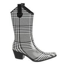 Womens Western Rain Boots Black Plaid Cowgirl Rubber Waterproof Any Size 10