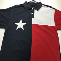 Texas Flag Polo Pullover Knit Shirt Men's Large Blue White Red Short Sleeves