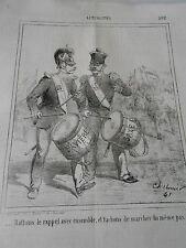 Caricature Litho 1865 Battons le rappel ensemble Tambours Bavière Saxe