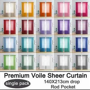 1x Rod Pocket Sheer Curtain Organza Voile Tulle Window Curtain Drape 140x213cm