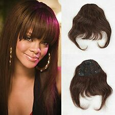 ZanaWigs Human Hair Bang Clip in on Bangs Fringe Short One Piece Silky Straight