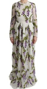 NEW DOLCE & GABBANA Dress White Floral Embroidered Maxi Full IT40 /US6 / S