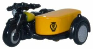 MOTORBIKE AND SIDECAR AA Black & Yellow 1/148 Scale Oxford Diecast NBSA001