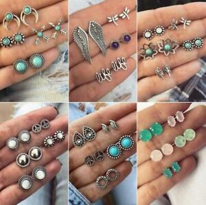 12 Pairs Fashion Boho Women Crystal Pearl Earrings Set Ear Stud Jewelry Gifts