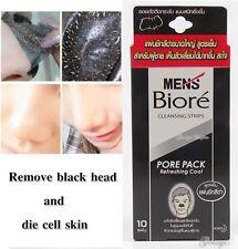 10 STRIP MEN BIORE BLACK COOL NOSE CLEANING STRIP PORE PACK BLACKHEADS REMOVAL