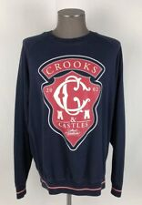 Crooks And Castles L/S Crewneck Sweater Mens SZ L Blue/Red Comfort Cotton A26