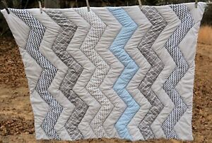 """Trend-lab Baby quilted throw pad 34x42"""" gray beige blue, blue backing"""