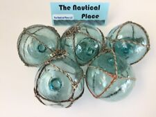 """(5) x 2.5"""" Japanese Glass Fishing Floats ~ With Netting ~ Authentic Old Vintage"""