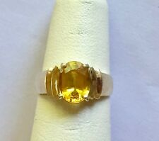 2.30 TCW Intense Golden Yellow Sapphire Ring 14K Yellow Gold Natural