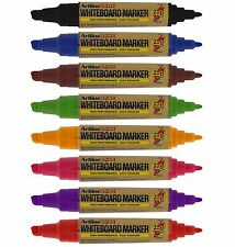 Artline 2-In-1 Twin Tip Whiteboard Markers Drywipe Pens Bullet Chisel Tip-Pack 8